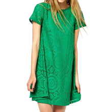 Load image into Gallery viewer, Solid Short Sleeve O-Neck Lace Hollow Dress