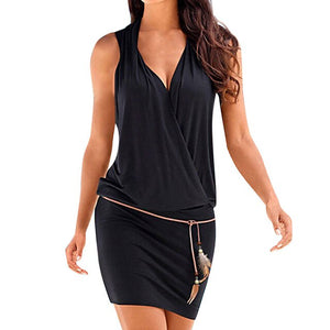 Hot New Fashion V-Neck Hollow Sleeve Dress