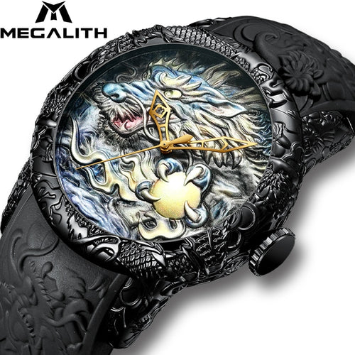 MEGALITH 3D Dragon Sculpture Waterproof Big Dial Quartz Watch