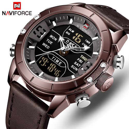 Luxury Brand Leather Waterproof Quartz Military Analog Digital Watches