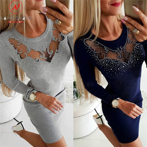 Elegant Diamonds O-Neck Long Sleeve Lady Slim Dress