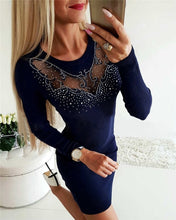 Load image into Gallery viewer, Elegant Diamonds O-Neck Long Sleeve Lady Slim Dress