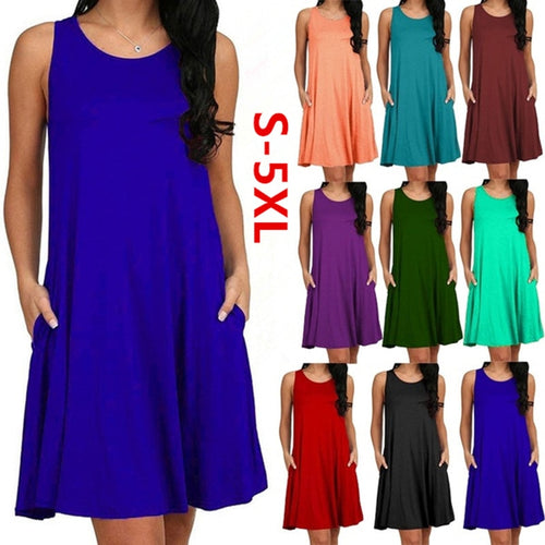 Casual O-neck Tank Top Loose Pocket Dress