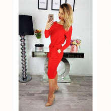 Load image into Gallery viewer, Long Sleeve Casual Slim Sashes Dress