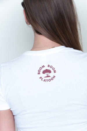 Women's Tee - Mushroom Cloud White/Maroon