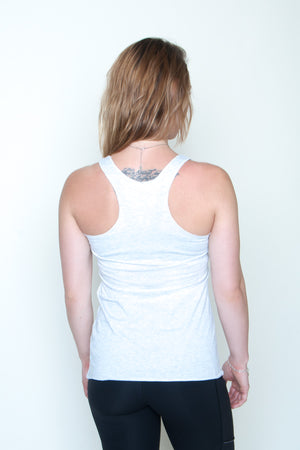 Women's Racerback Tank - In Boom We Trust White