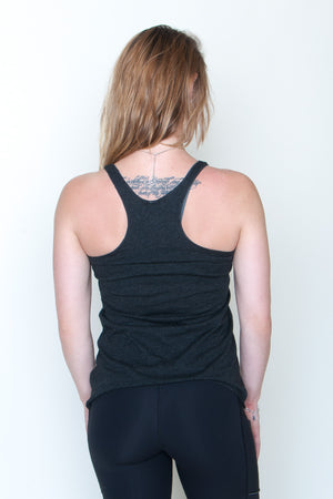 Women's Racerback Tank - In Boom We Trust Black