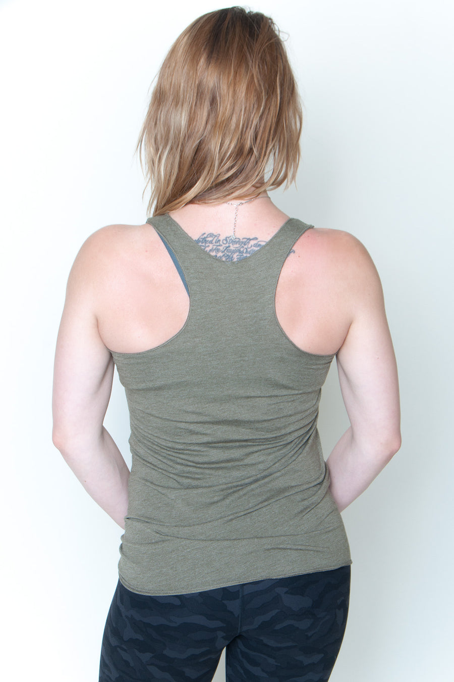 Women's Racerback Tank - United We Boom Explosion Olive/Tan