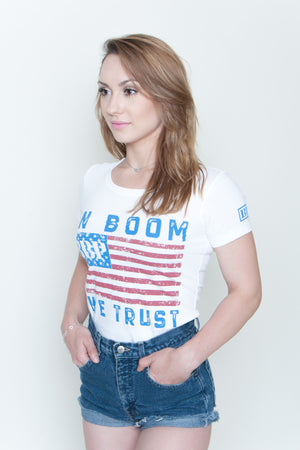 Women's Tee - In Boom We Trust White
