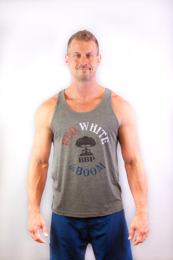 Men's Tank - Red White and Boom Grey
