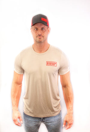 Men's Tee - BBP Logo Tan/Red