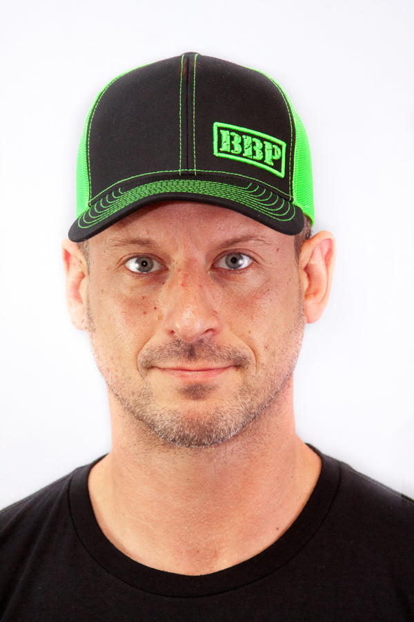Trucker Hat - Black and Neon Green BBP