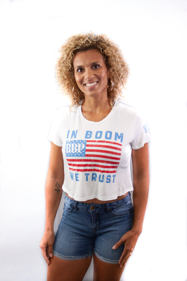 Women's Mid Tee - In Boom We Trust White