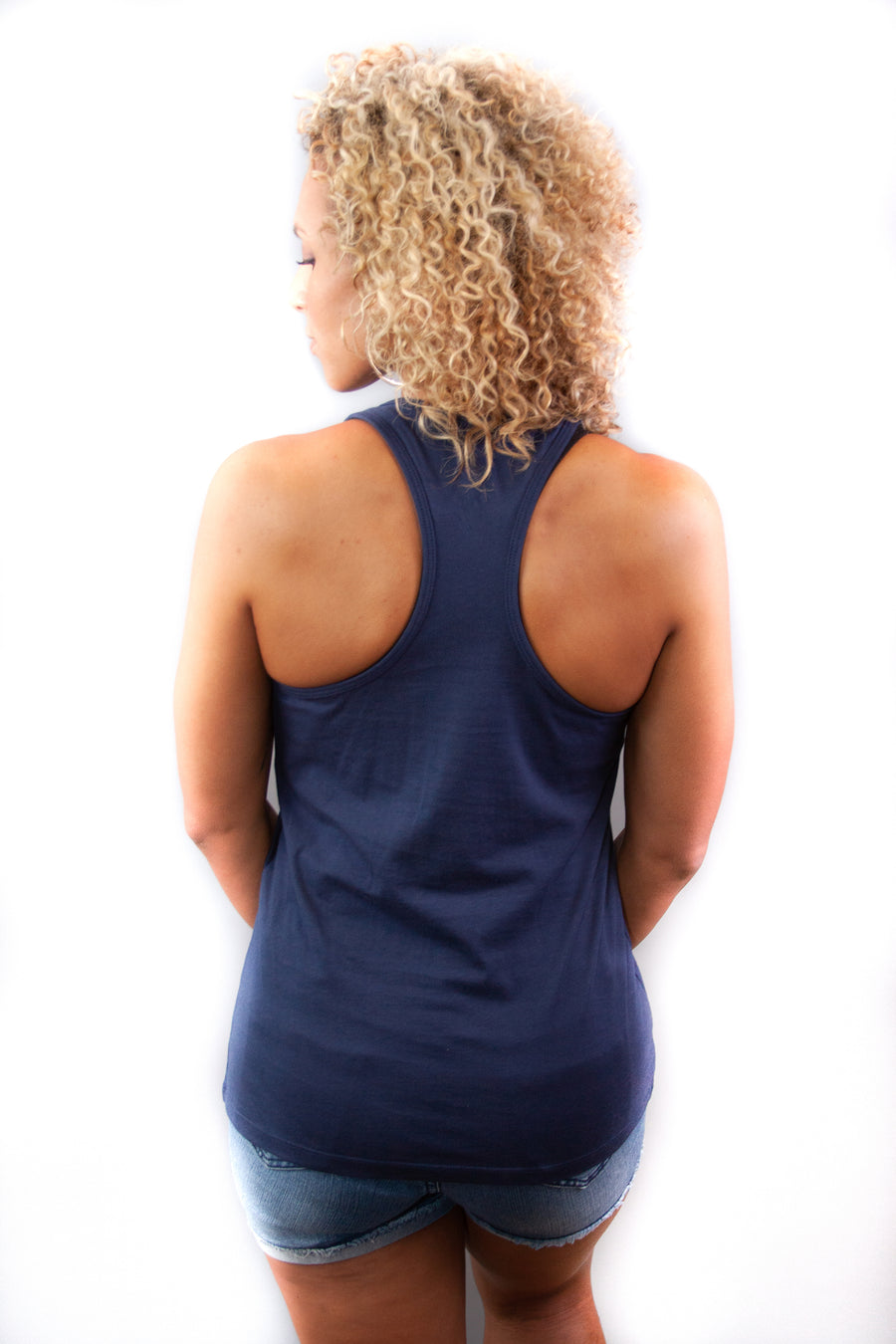 Women's Racerback Tank - Made In The USA Navy/Tan