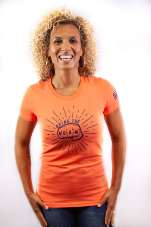 Women's Tee - Boom Fist Coral/Navy