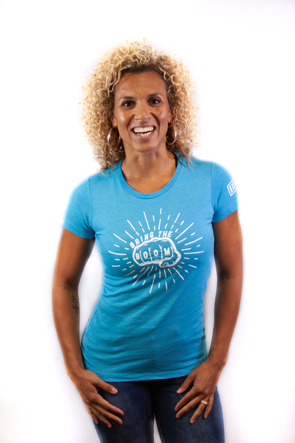 Women's Tee - Boom Fist Aqua/White