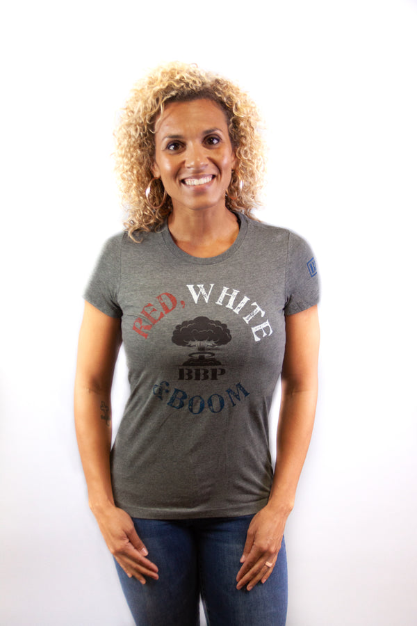 Women's Tee - Red White and Boom on Grey