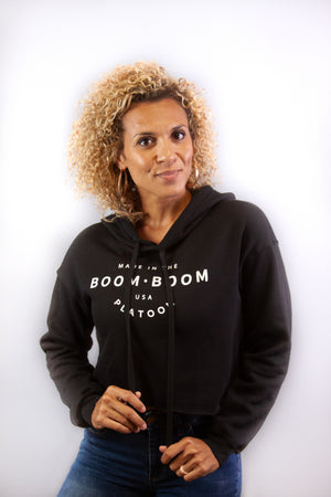 Women's Cropped Hoodie - Made In The USA Black