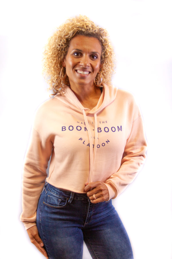 Women's Crop Hoodie - Made In The USA Pink/Navy