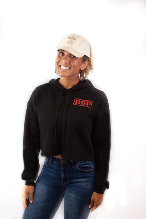 Women's Crop Hoodie - BBP Logo Black/Red