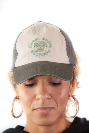Unstructured Hat - Green and Grey w/ Mushroom Cloud Logo