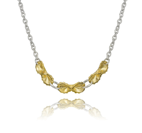 18k Gold Plated 3 - Farfallini Necklace with Sterling Silver Chain