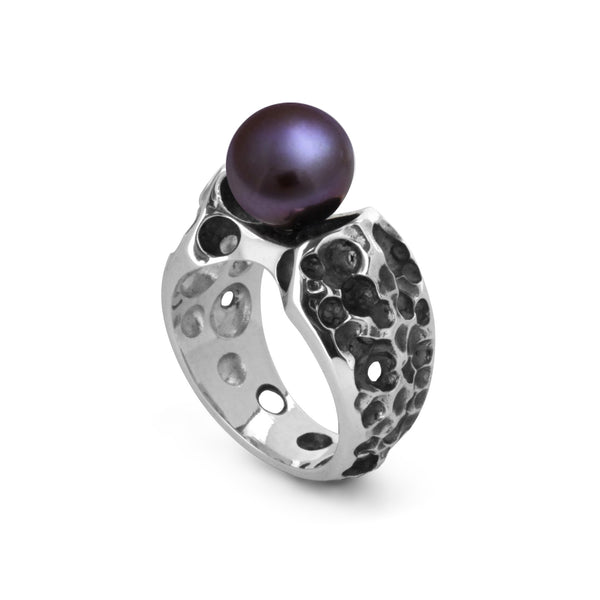 Sterling Silver Coral 2-Hole Ring with Pearl