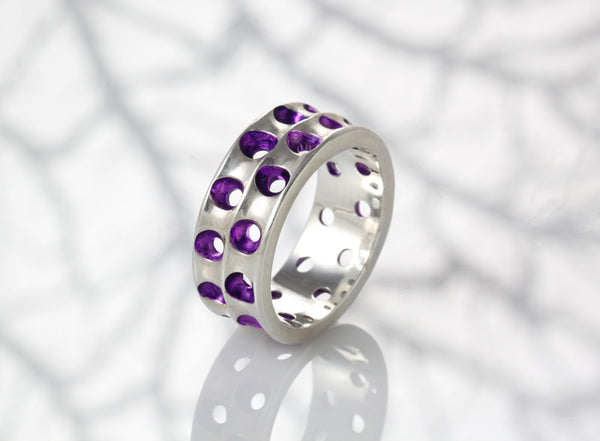 Sterling Silver Coral Wave Ring/Purple