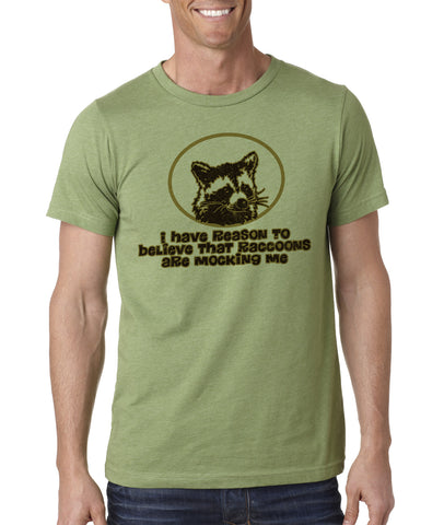 The-Raccoons-are-Mocking-Me-Funny-Novelty-T-Shirt-Heather-Green
