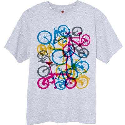 Colorful-Bicycles-Graphic-T-Shirt-Ash