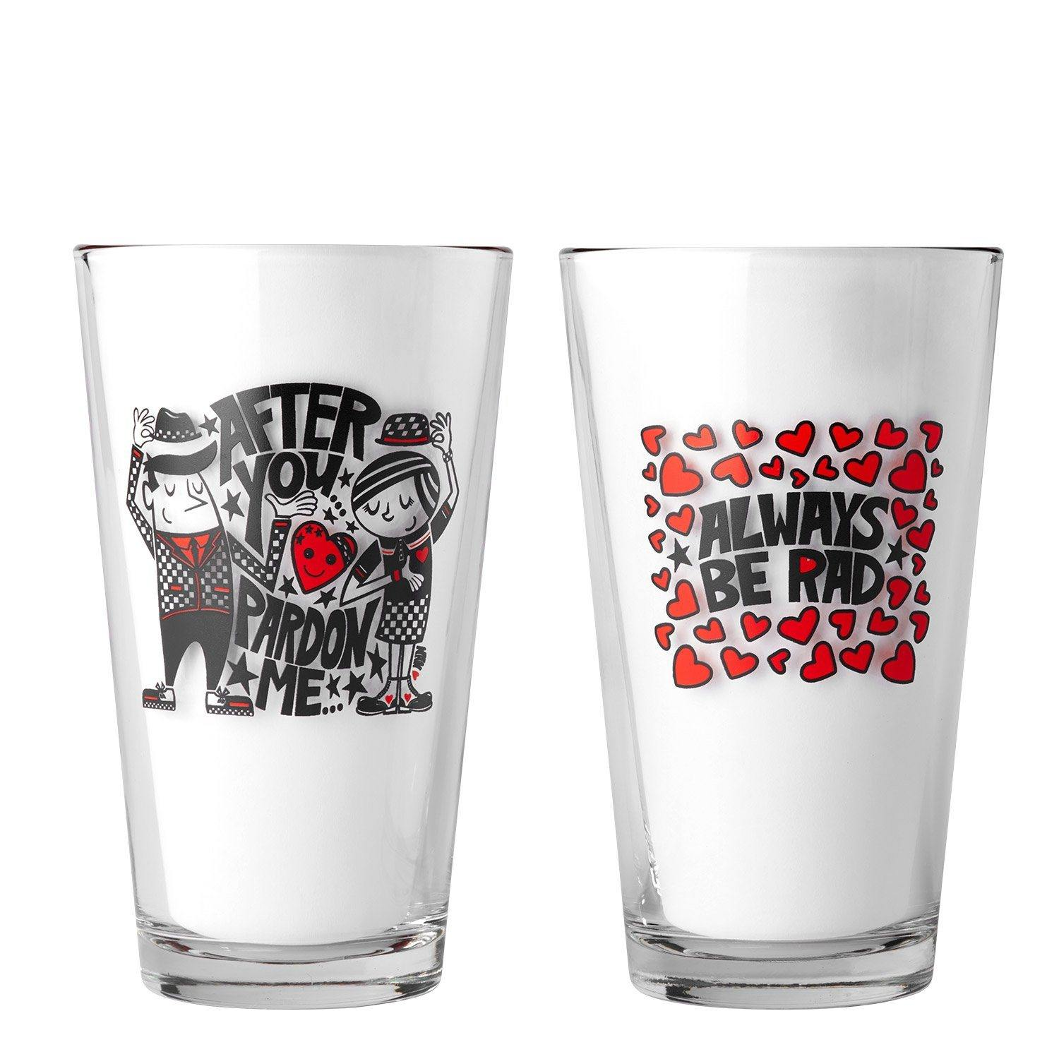 After You/Pardon Me / Always Be Rad- Pint Glass Set | Fine Art and Limited Edition Prints | The Art Of Nan Coffey