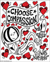 Sticker | Choose Compassion | Fine Art and Limited Edition Prints | The Art Of Nan Coffey