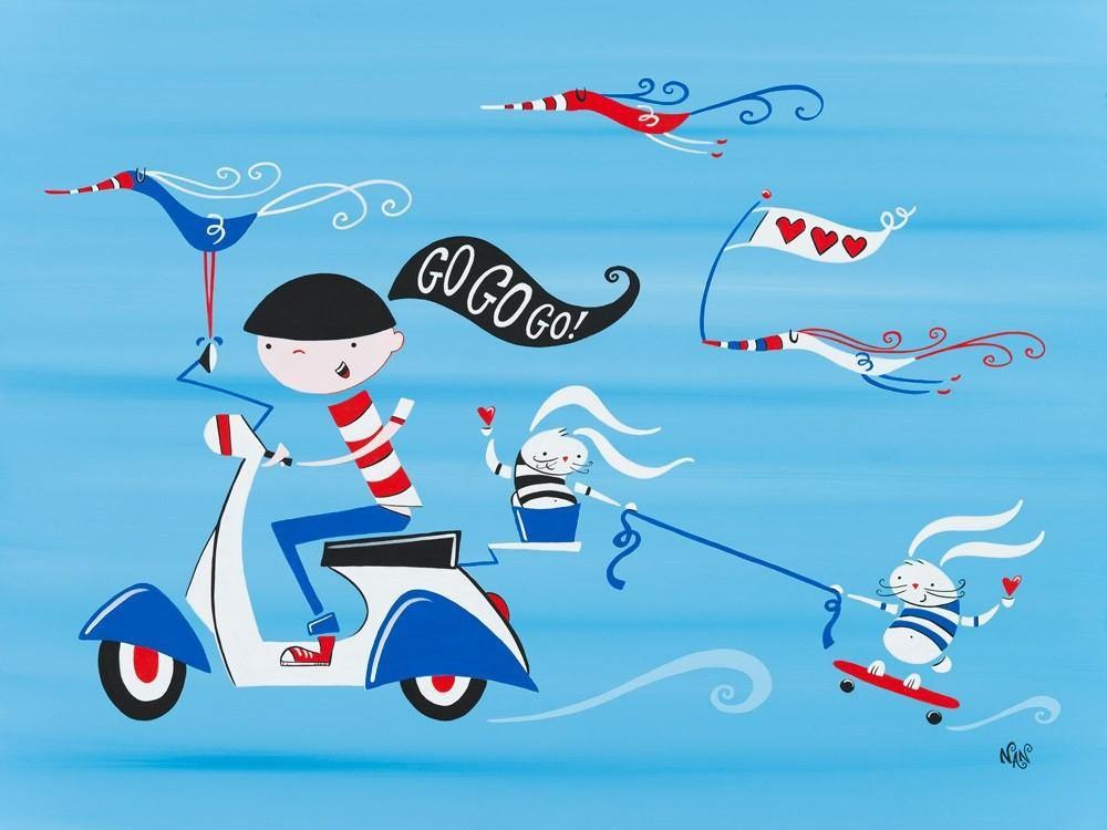 Faster Scooter Girl, Go! Go! - Original | Fine Art and Limited Edition Prints | The Art Of Nan Coffey