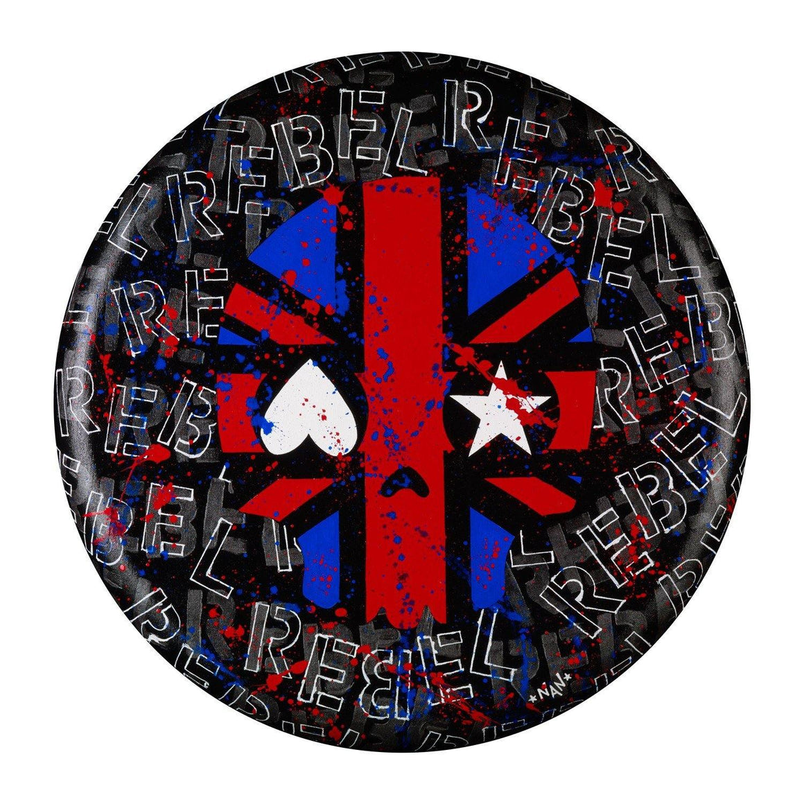 "Rebel Union Jack 20"" Round - The Art Of Nan Coffey"