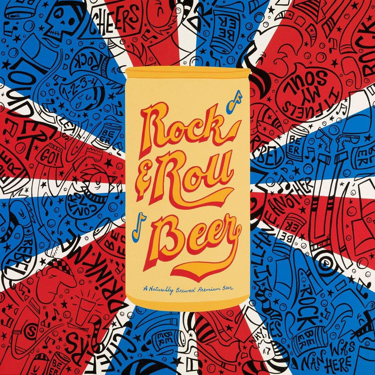 Rock & Roll Beer Can Front | The Art and Fun Of Nan Coffey | NanWasHere - 1