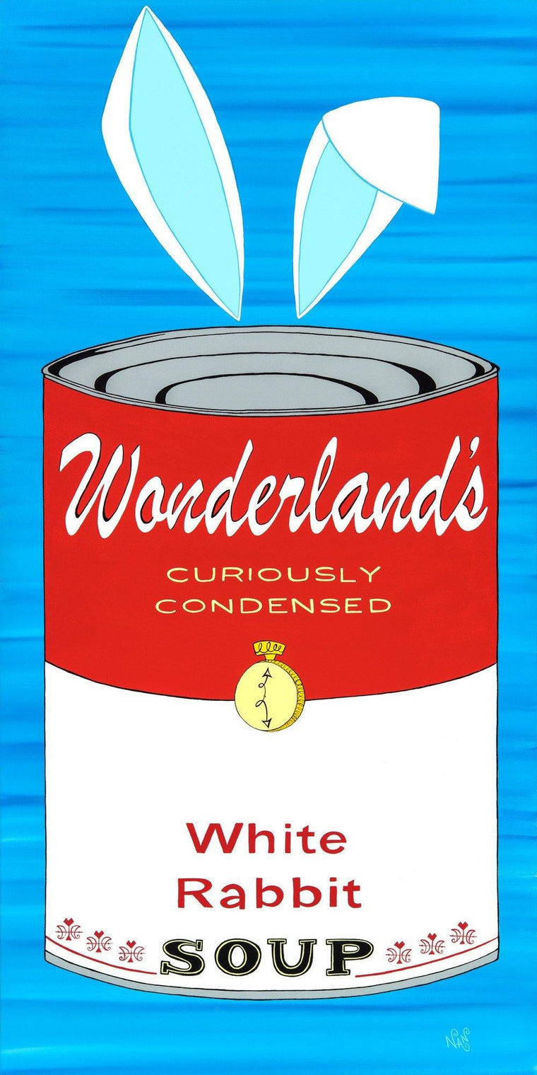 White Rabbit Wonderland Soup Can | The Art and Fun Of Nan Coffey | NanWasHere - 1