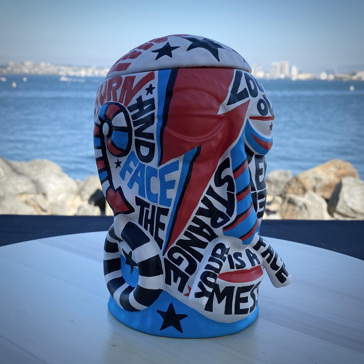 Nan-Painted Starman Mr. Bali Hai Ceramic Mug - The Art Of Nan Coffey