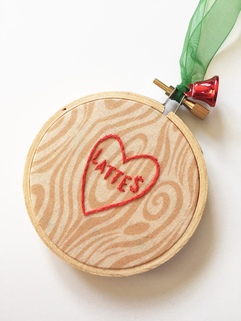 Latte Lover's Tree Carving Inspired Christmas Ornament