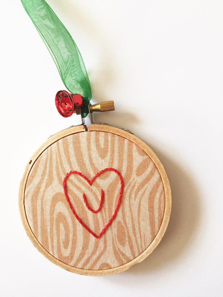I Heart U -  Tree Carving Inspired Christmas Ornament