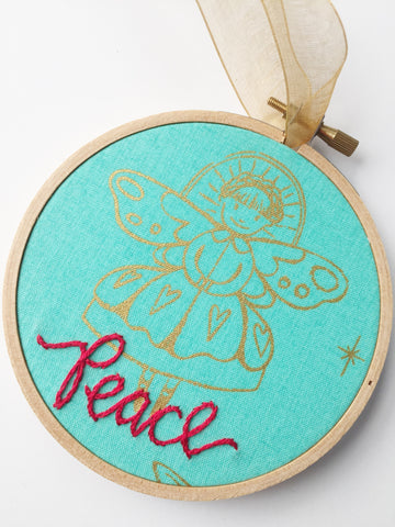 Peace Angel Ornament in Hoop