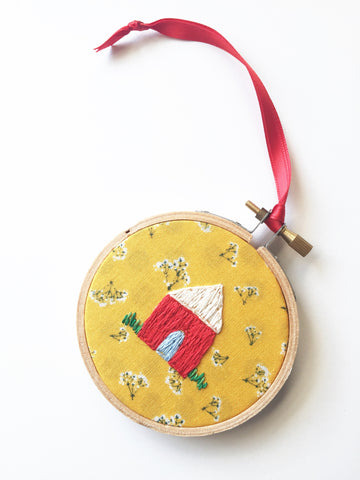 Tiny Embroidered House OOAK Christmas Ornament