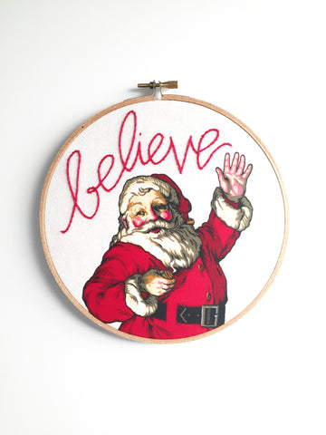 Embroidered Vintage Style Santa Sign -