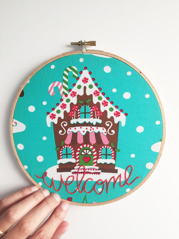 Gingerbread House Embroidered Welcome Sign