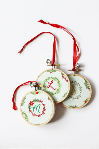 Personalized Initial Embroidered Christmas Ornament