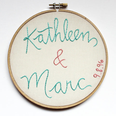 Embroidered Wedding Gift with Names and Date