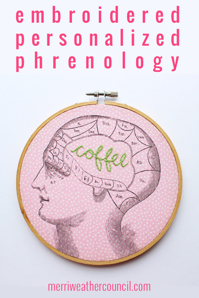 Custom Hand Embroidery - Personalized Phrenology Embroidered Hoop