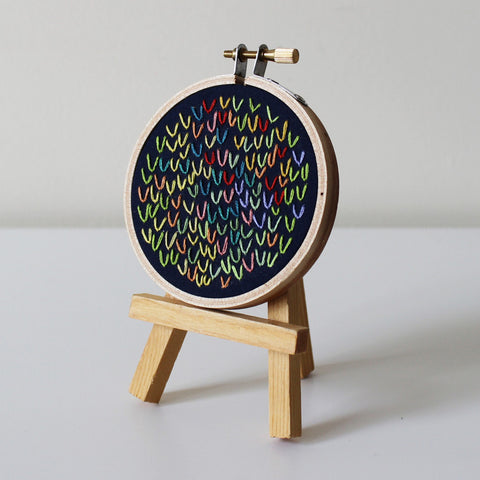 Hand Embroidered Hoop - Wishbone Stitch on Navy