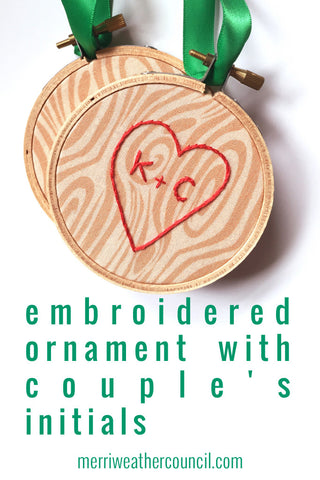 Couple's Initials Tree Carving Inspired Christmas Ornament