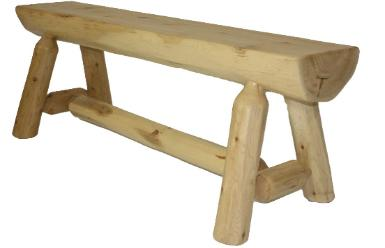 White Cedar Log Bench