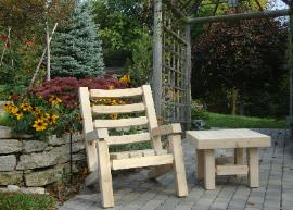 Square Cut Cedar Log Chair